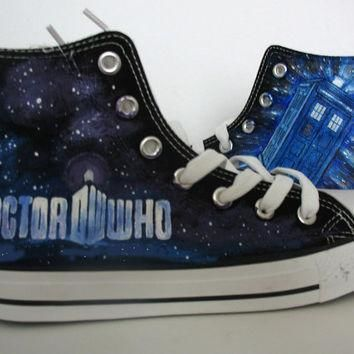 doctor who blue custom converse hand painted shoes canvas shoes