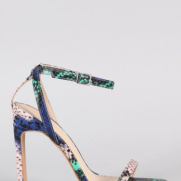 Snake Print Ankle Strap Rectangle Heel