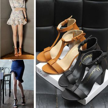 Summer Casual T Buckle Band Sandals Roman Women Thick Heel Heels Shoes