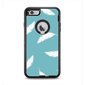 The Simple White Feathered Blue Apple iPhone 6 Plus Otterbox Defender Case Skin Set