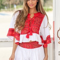 Red Boho Two Piece Set