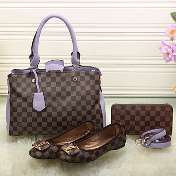 LV Women Leather Tote Satchel Shoulder Bag Handbag Shoes Wallet Three Piece Suit