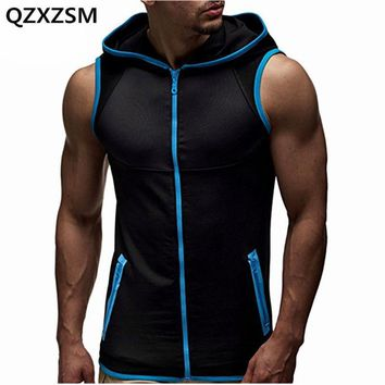 Men Tank Tops with Hoody Fitness Mens Bodybuilding Clothing Crossfit Workout Top Activewear Sleeveless Hoodies