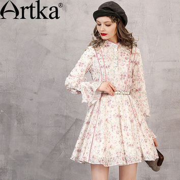 Artka Women's Autumn Floral Printed Cotton Dress Vintage Stand Collar Lantern Sleeve Empire Waist Dress With Sashes LA11266Q