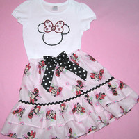 Back to school outfit , Minnie Mouse skirt outfit , toddler Minnie Mouse outfit , pink Minnie Mouse , girls ruffle skirt , size 4-5
