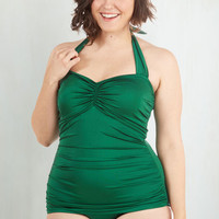 Vintage Inspired Halter Bathing Beauty One-Piece Swimsuit in Emerald - 16-26