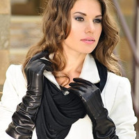 Women's elegant and classic long leather gloves- warm and super soft 100% warm lining-black leather gloves-red-women gift-chris