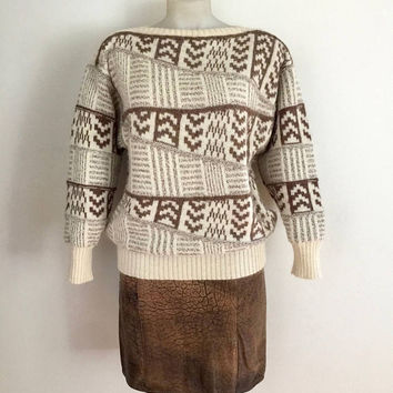 ESCADA!!! Vintage 1980s 'Escada' patterned brown and cream, wool / alpacca knitted sweater with slash neck