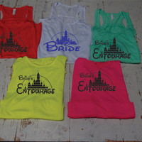 Brides Entourage .Bridal set of  Tanks. wedding Gift . Bridesmaid tank. Bachelorette party. Disney. Maid of Honor. Mother of the Bride.