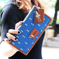 Envelope Women Wallet Hit Color Flowers Printing PU Leather Wallet Zipper Long