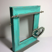 Jewelry organizer frame blue, Earring display, turquoise / mint jewelry stand. rustic timber jewelry display, Mother's Day gift, blue frame