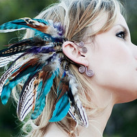 Sequoia Nights Feather Ear Cuff by SpiritTribe on Etsy