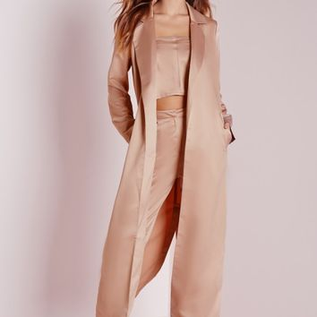 Missguided - Satin Belted Maxi Duster Coat Rose Pink