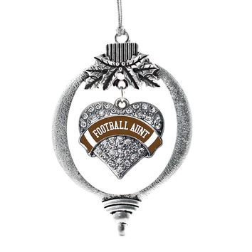 Football Aunt Brown Pave Heart Charm Holiday Ornament