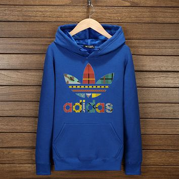 "Women Men Couple ""Adidas"" Print Hoodie Sweatshirt Tops Sweater Pullover(7-Color) Blue I-YSSA-Z"