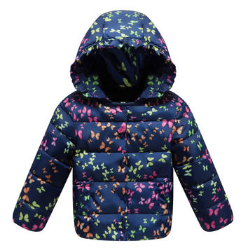 Child Down Coat Middle Long Thick Girl Coat Winter   navy    100cm