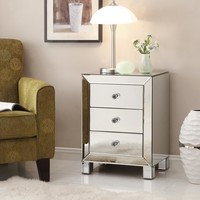 Ave Six Reflections Silver Mirror Mirrored End Table-REF173-SLV - The Home Depot