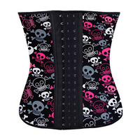 Body Shaper Waist Stylish Ladies Skull Print Rubber Steel Boned Sexy Corset [4965395140]