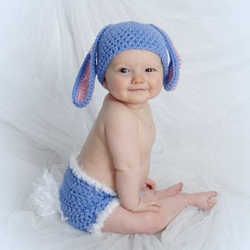 Baby's First Easter, Easter Bunny Hat and Diaper Cover Set, Baby Bunny Set, Easter Photo Prop, Easter Bunny Set, Baby Easter Set