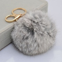 Gold Plated Keychain Charm with Plush Cute Genuine Rabbit Fur Key Chain for Car Key Ring Handbag Accessories Charm Gray [7670509446]