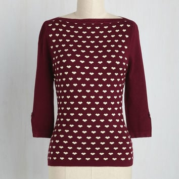 Up to Parisienne Top in Merlot Hearts | Mod Retro Vintage Sweaters | ModCloth.com