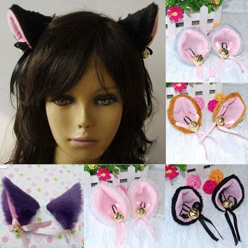 1 Pair Anime  Cat  Ears Faux-Fur Hair Clip 6 Colors