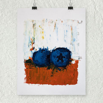 Blueberry Painting, Palette Knife, Original Kitchen Art, Colorful Painting, Impasto Painting, Cute Kitchen Art, Fruit Still Life Painting