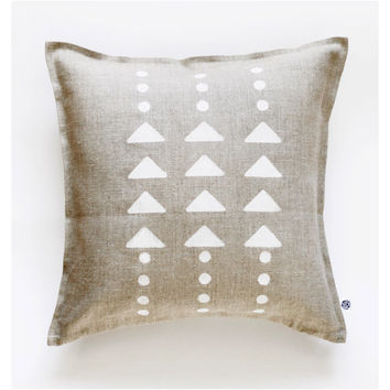 Geometrical decorative gray linen pillow cover hand painted - modern white triangles and polka dots pattern
