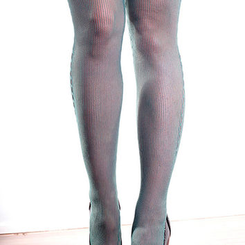 Vintage High Quality Green Seam, Steampunk, Punk, Mod Nylon Tights Pantyhose One Size