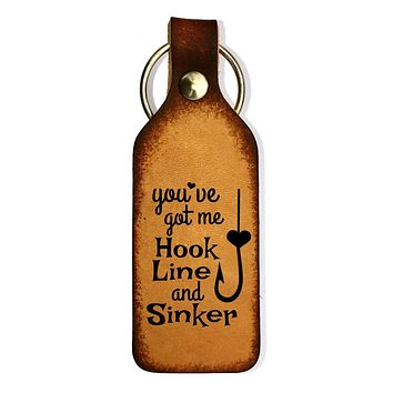Hook Line and Sinker Engraved Leather Keychain