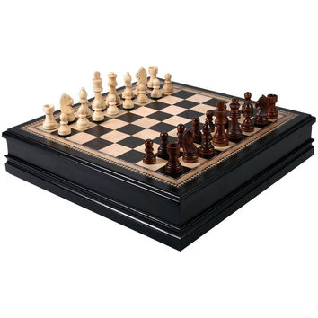 Kavi Black Inlaid Wood Chess Board Game with Weighted Wooden Pieces and Tray - 18 Inch Set (Large) '