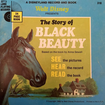 Vintage 1966 The Story of Black Beauty by Disneyland Records - Story Book and Vinyl Record / Walt Disney Productions