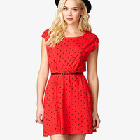 Polka Dot Dress w/ Skinny Belt