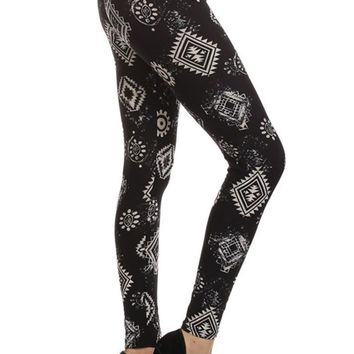 Black Aztec Graphic Print Lined Leggings