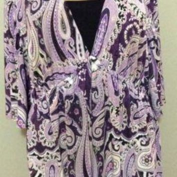 JTB plus size 2X 18/20 Black White Purple Paisley Stretch Knit Blouse top shirt