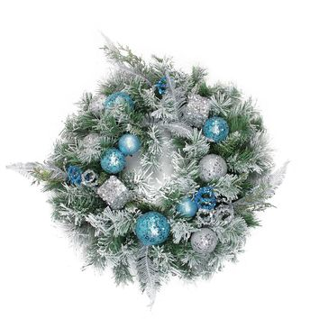 """24"""" Flocked Blue and Silver Sequin Ornaments Artificial Pine Christmas Wreath - Unlit"""