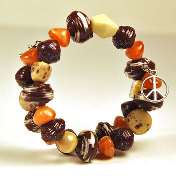 Chocolate Brown Paper Bead Bracelet // Memory wire bracelet // Angel and peace charms