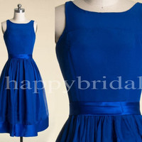 Long Royal Blue Bridesmaid Dresses Chiffon Prom Dresses Party Dresses Evening Dresses 2014 High Quality Wedding Occasions