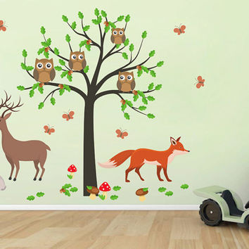 kcik1658 Full Color Wall decal bedroom children's room decor Custom Baby Nursery on bed baby tree nusery decal tree forest animals