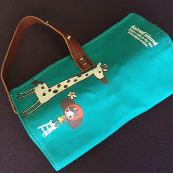 Cute Roll Up Style Pencil Pouch - Turquoise