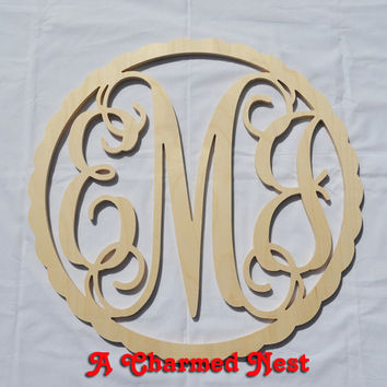 24 inch Scalloped Border Circle Vine Wooden Monogram - Wedding, Nursery, Home