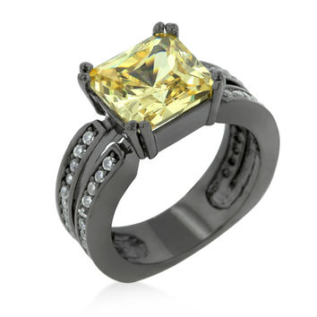 Natka Hematite Yellow CZ Cocktail Ring | 5ct | Cubic Zirconia