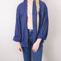 Vintage 80s Blue Purple Levi Striped Flannel Shirt