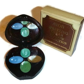 Mod 60s 70s AVON Compact Eye Shadow New Vintage Collectible Makeup Boho Hippie Beauty Vanity Display, Sparkling Cream Green EyeShadow UNUSED