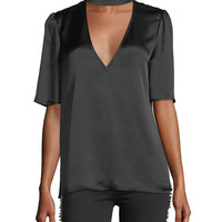 PAIGE Cateline V-Neck Short-Sleeve Satin Blouse