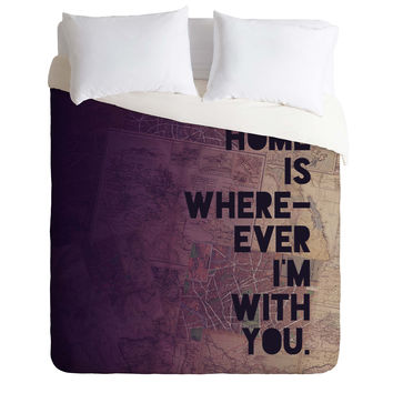 Leah Flores With You Duvet Cover