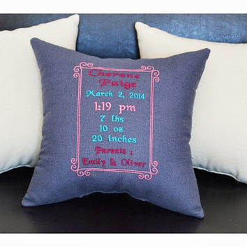 Personalized birth Announcement Pillow, embroidered birth announcement pillow , New born Pillow ,Baby shower gift