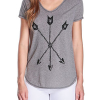 Arrow Graphic Tee in Gray-FINAL SALE