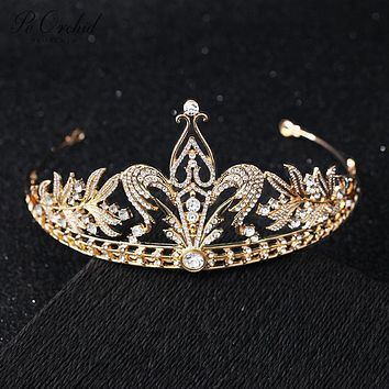 Gold Wedding Crown Tiara Brides Queen Crystal Hair Accessories Princess