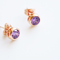 18K Rose Gold Purple Solitaire earring studs